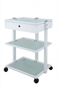 TROLLEY- 3 TIER GLASS, TOP DRAW, M LAMP