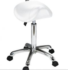 SADDLE STOOL ANTI-FATIGUE - WHITE